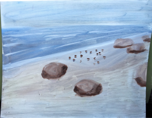 Chilmark morning walk on the beach. whole painting less than three minutes . $100