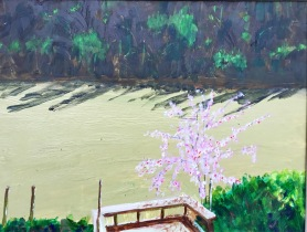 river at part flood with plum tree sold